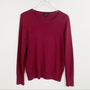 Ann Taylor Side Button Crew Neck Maroon Sweater